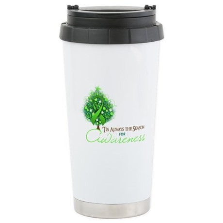 Lime Green Ribbon Xmas Tree Ceramic Travel Mug