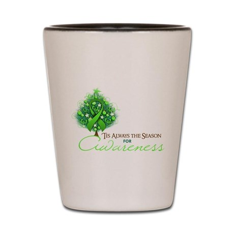 Lime Green Ribbon Xmas Tree Shot Glass