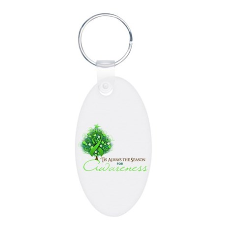 Lime Green Ribbon Xmas Tree Aluminum Oval Keychain