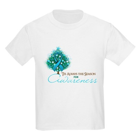 Light Blue Ribbon Xmas Tree Kids Light T-Shirt
