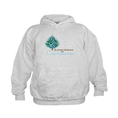 Light Blue Ribbon Xmas Tree Kids Hoodie