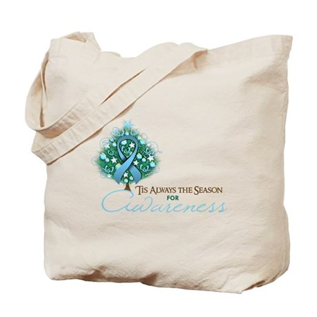 Light Blue Ribbon Xmas Tree Tote Bag