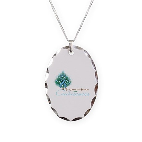 Light Blue Ribbon Xmas Tree Necklace Oval Charm