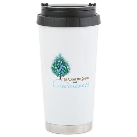 Light Blue Ribbon Xmas Tree Ceramic Travel Mug