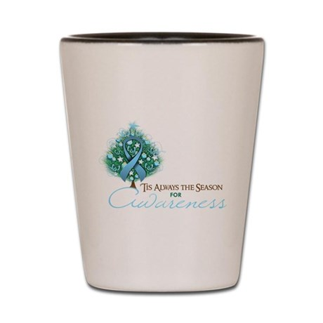 Light Blue Ribbon Xmas Tree Shot Glass
