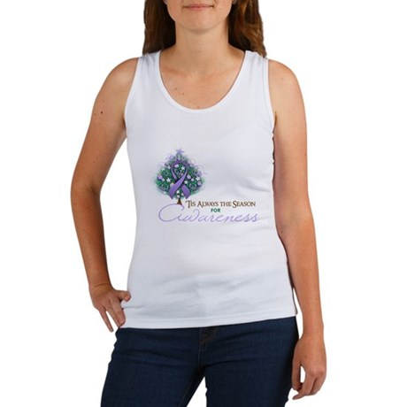 Lavender Ribbon Xmas Tree Women's Tank Top
