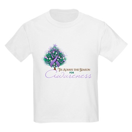 Lavender Ribbon Xmas Tree Kids Light T-Shirt