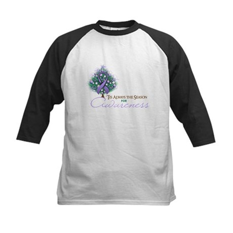 Lavender Ribbon Xmas Tree Kids Baseball Jersey