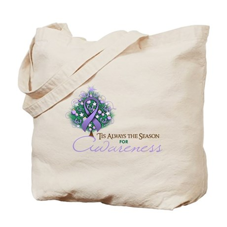 Lavender Ribbon Xmas Tree Tote Bag