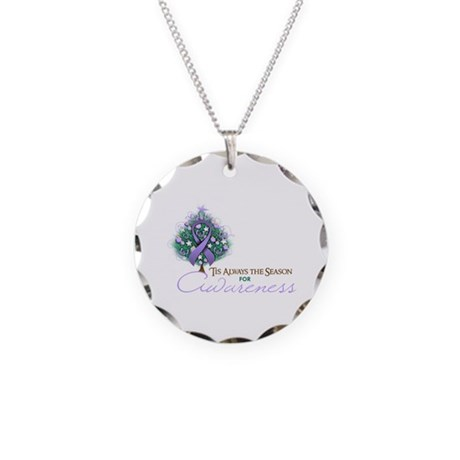 Lavender Ribbon Xmas Tree Necklace Circle Charm