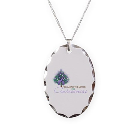 Lavender Ribbon Xmas Tree Necklace Oval Charm