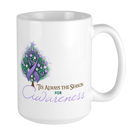 Lavender Ribbon Xmas Tree Large Mug