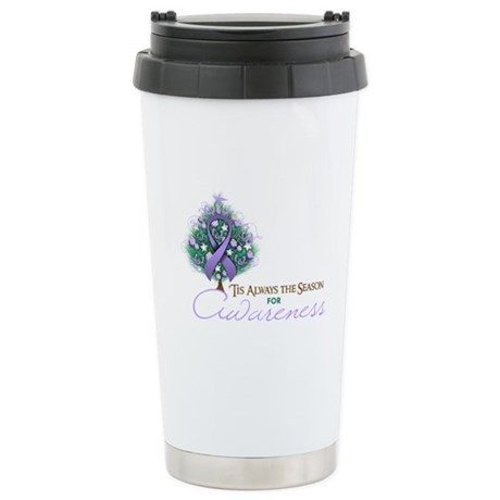 Lavender Ribbon Xmas Tree Ceramic Travel Mug