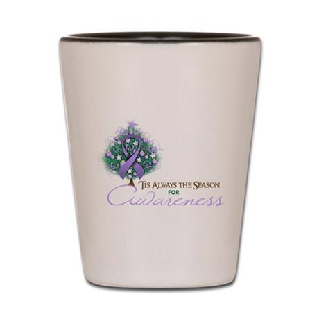 Lavender Ribbon Xmas Tree Shot Glass
