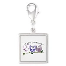 Owl Love You Forever Silver Square Charm