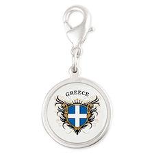 Greece Silver Round Charm