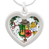 Kaniac Holiday Crest Silver Heart Necklace