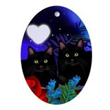 Black Cats Moon Heart Ornament (Oval)