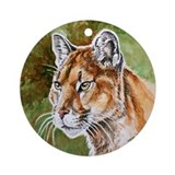 Mountain Lion Watercolor Ornament (Round)