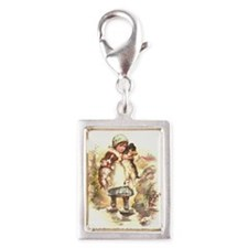 Two Pups Silver Portrait Charm