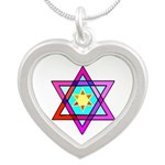 Stained Glass Jewish Star of David Charm Necklace