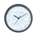 Sky Blue and White Damask Wall Clock