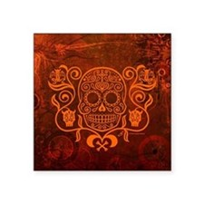 "Day of the Dead Sugar Skull Square Sticker 3"" x 3"""