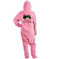 Green Tractor How I Roll Footed Pajamas