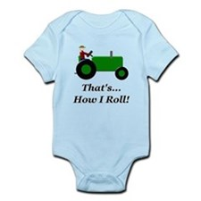 Green Tractor How I Roll Infant Bodysuit