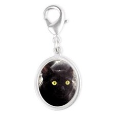 Black Cats Watercolor Silver Oval Charm