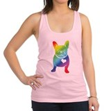 French Bulldog Love Cartoon RAINBOW Racerback Tank