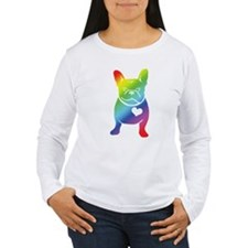 French Bulldog Love Cartoon RAINBOW T-Shirt