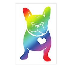 French Bulldog Love Cartoon RAINBOW Postcards (Pac