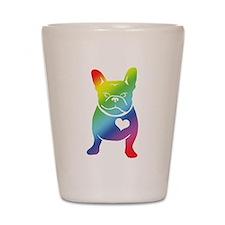 French Bulldog Love Cartoon RAINBOW Shot Glass