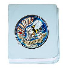 USN Seabees We Build We Fight Blue baby blanket