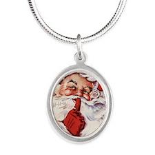 Vintage Santa Silver Oval Necklace