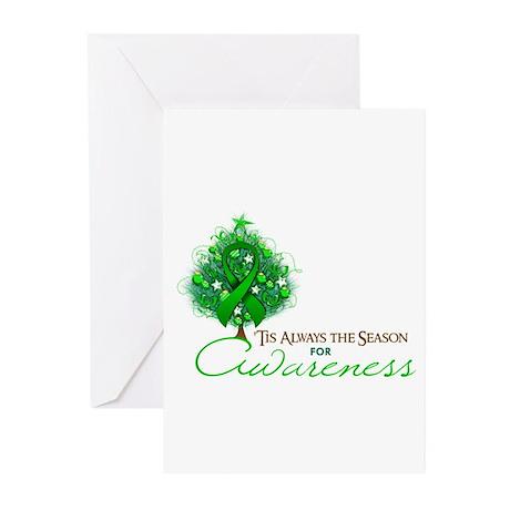 Green Ribbon Xmas Tree Greeting Cards (Pk of 10)