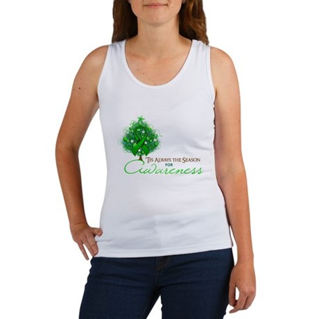 Green Ribbon Xmas Tree Women's Tank Top