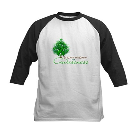 Green Ribbon Xmas Tree Kids Baseball Jersey