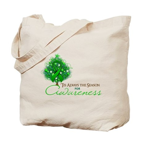 Green Ribbon Xmas Tree Tote Bag