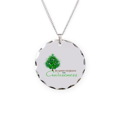 Green Ribbon Xmas Tree Necklace Circle Charm