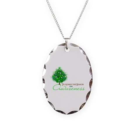 Green Ribbon Xmas Tree Necklace Oval Charm