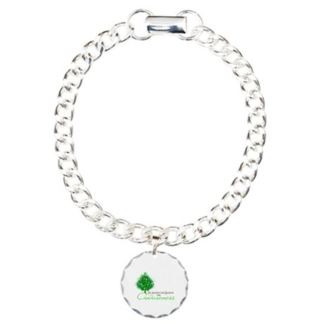 Green Ribbon Xmas Tree Charm Bracelet, One Charm
