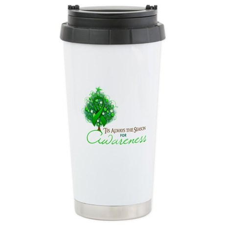 Green Ribbon Xmas Tree Ceramic Travel Mug