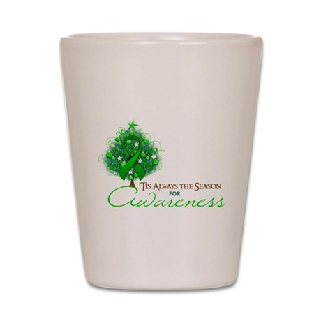 Green Ribbon Xmas Tree Shot Glass