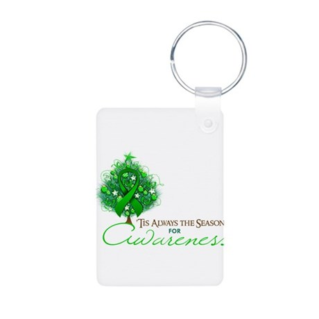 Green Ribbon Xmas Tree Aluminum Photo Keychain