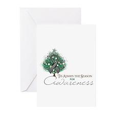Gray Ribbon Xmas Tree Greeting Cards (Pk of 10)