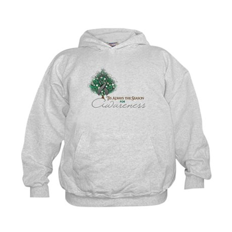 Gray Ribbon Xmas Tree Kids Hoodie