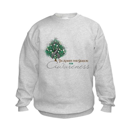 Gray Ribbon Xmas Tree Kids Sweatshirt