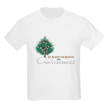 Gray Ribbon Xmas Tree Kids Light T-Shirt